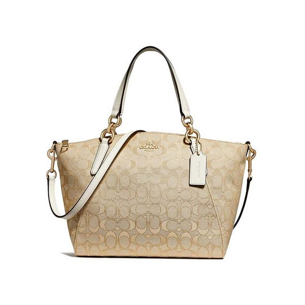 6fcb337d952e Small Kelsey Satchel In Signature Jacquard - LIGHT KHAKI